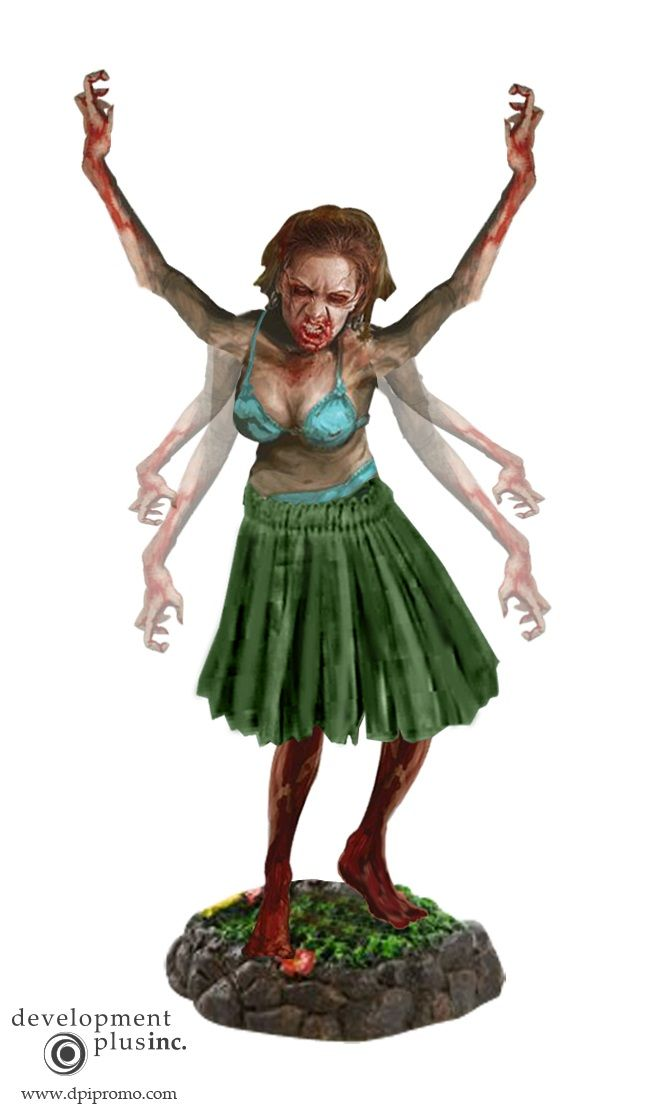 Pose variation for zombie hula girl bobble concept for Dead Island: Riptide video game. http://dpipromo.com/contact.html