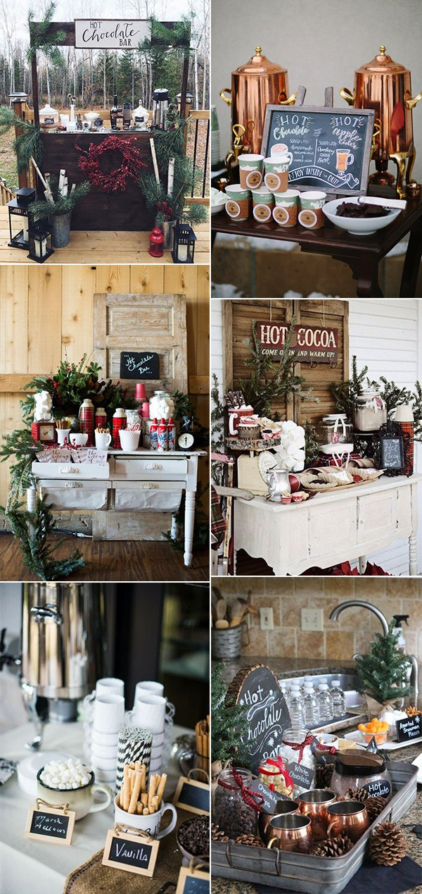 32 Whimsical Winter Wedding Decoration Ideas You'll Love #hotchocolatebar