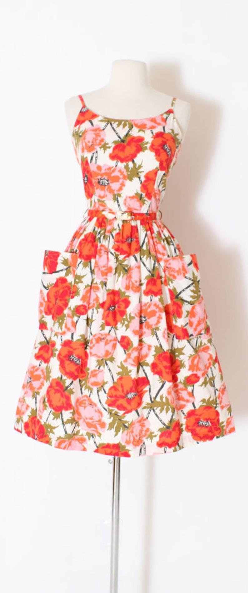 Vintage 1950s 50s Dress Orange Poppy Floral Print Belted Etsy Vintage Dresses Casual Lace Dress Vintage 50s Dresses [ 1898 x 794 Pixel ]
