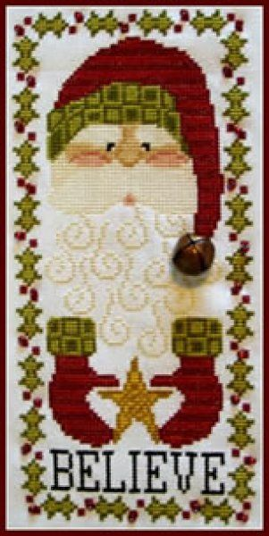 Santa Believe is the title of this delightful Santa cross stitch pattern from Hinzeit. The price includes the cross stitch pattern, the bell and red beads used to finish this delightful design.
