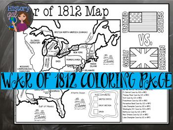 War Of 1812 Map Activity With Images Map Activities War Of