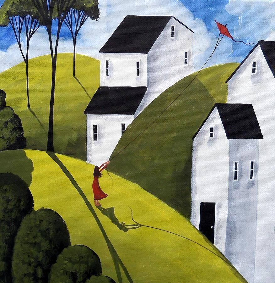 Country Painting - Kite Day - Folk Art Landscape by Debbie Criswell