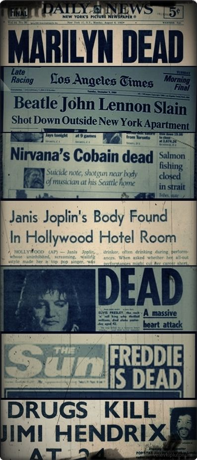 kurt cobain jimi hendrix john lennon Freddie Mercury Janis Joplin Elvis Presley marlyn monroe #freddiemercury