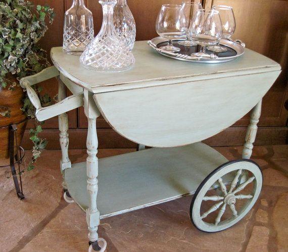 Wooden Drop Leaf Vintage Tea Cart Hand Painted By Olliesfinethings