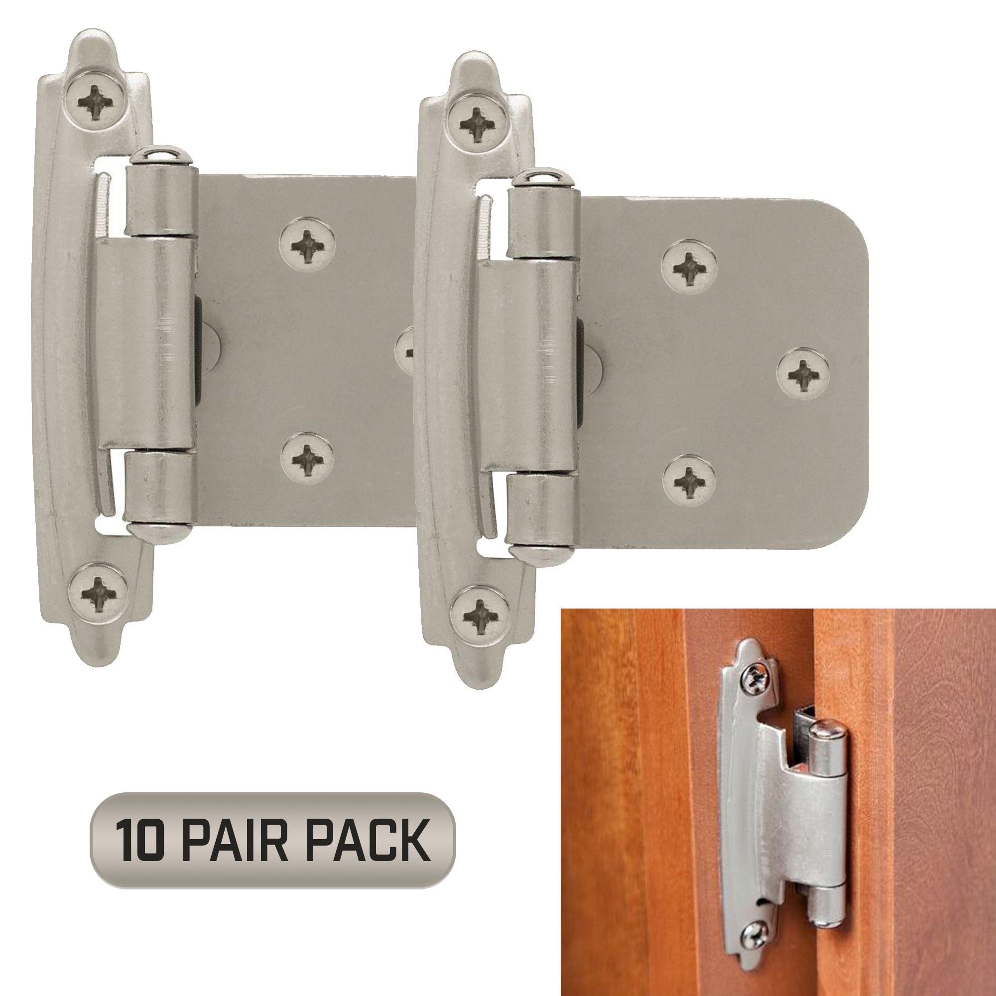 Classic Hardware Kitchen Cabinet Door Hinges 10 Pair Pack 20 Pieces Self Closing Satin Nickel Kitchen Cabinets Door Hinges Kitchen Cabinets Hinges Cabinet Hardware Hinges