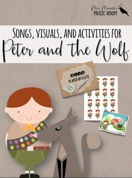 """Need songs, visuals, strategies, and activities to help teach Prokofiev's """"Peter and the Wolf""""? This comprehensive 79-page unit includes:  *<strong>""""Follow Me"""" beat activity to Andantino (Peter's theme)</strong>: appropriate for grades K-1 *<strong>Peter and the Wolf beat visuals for beat-tracking,</strong> appropriate for grades K-1 *<strong>Songs that could be used in conjunction with the unit:</strong> We are da..."""