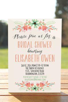 Rustic bridal shower invitation floral bridal shower invite