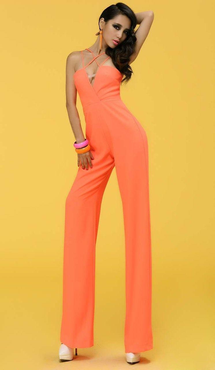 Morpheus Boutique  - Orange Lime Green Strap Halter Sexy Jumpsuit, CA$92.29 (http://www.morpheusboutique.com/orange-lime-green-strap-halter-sexy-jumpsuit/)