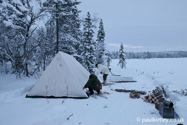 Setting up a winter tent