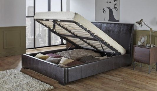 Georgia Black Faux Leather Ottoman Bed Frame Offers An Attractive Combination Of Contemporary Style And Ample Storage S Benson For Beds Ottoman Bed Bed Frame