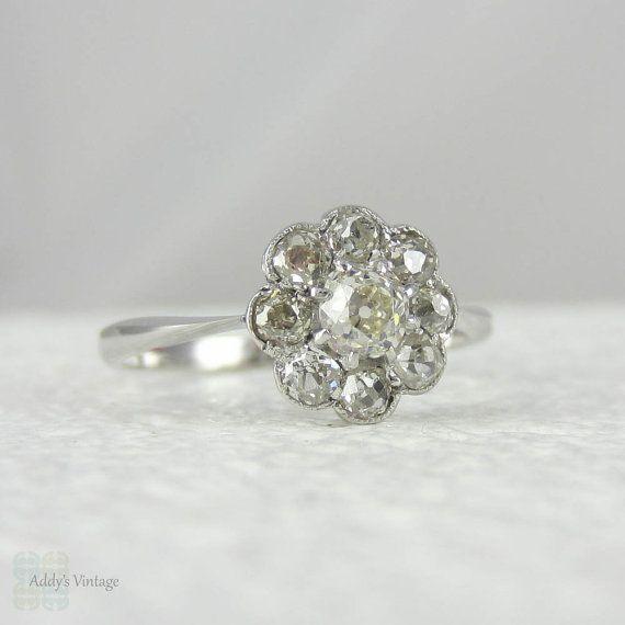 Art Deco Diamond Daisy Engagement Ring. Old Mine Cut Diamonds in White Gold Cluster Flower Shape Ring, Circa 1930s.