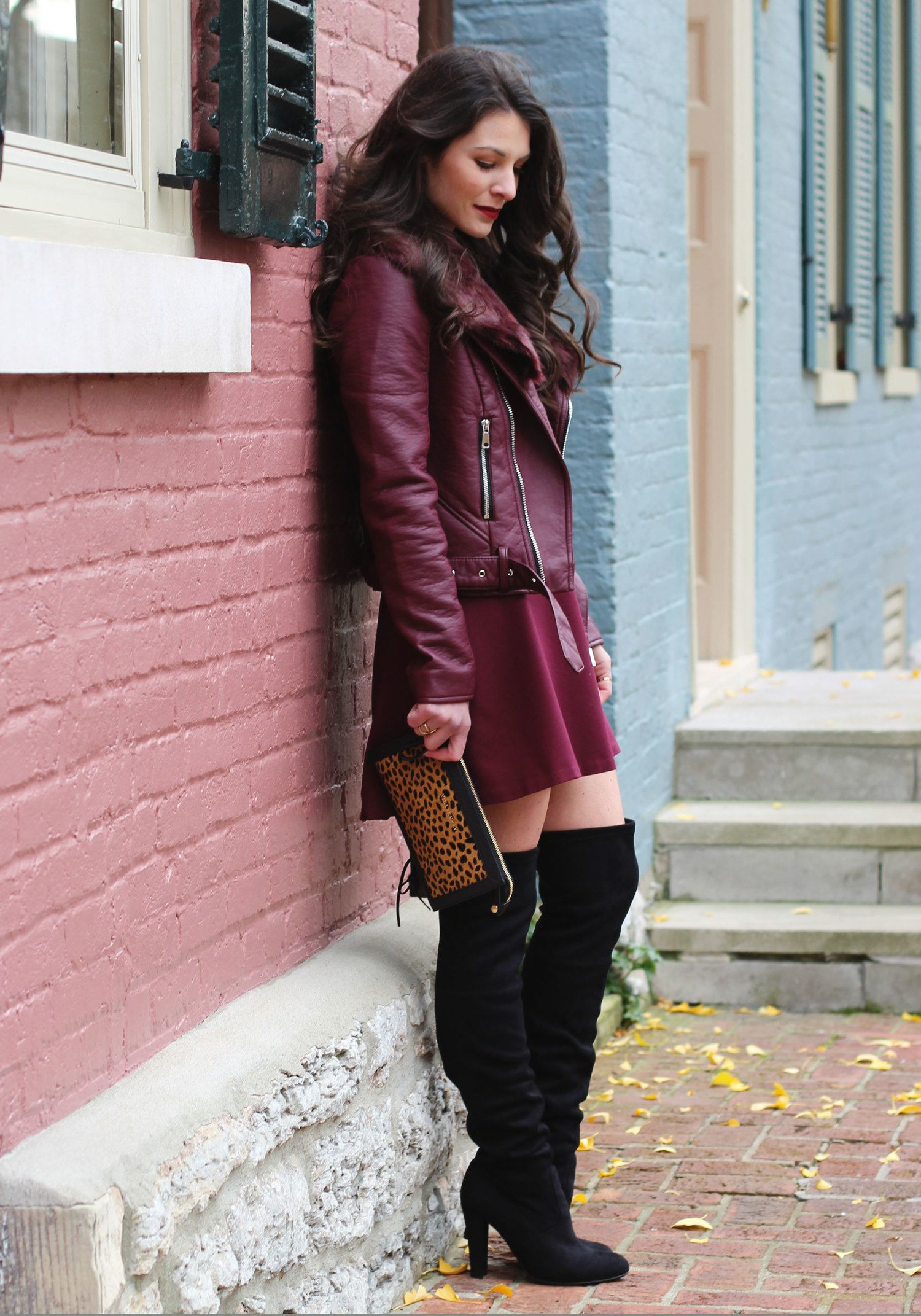 Holiday Outfit, Winter Fashion, Maroon Moto Jacket, Marsala Skater ...