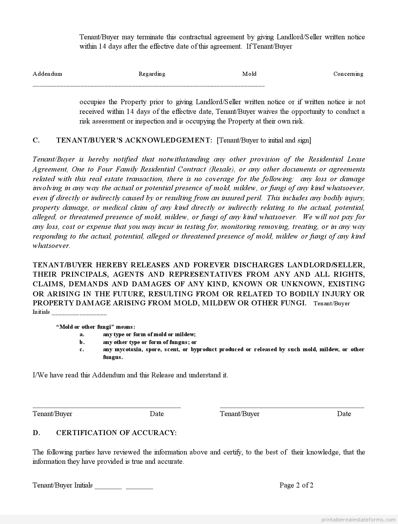 Printable Addendum Regarding Mold Template   Sample Forms