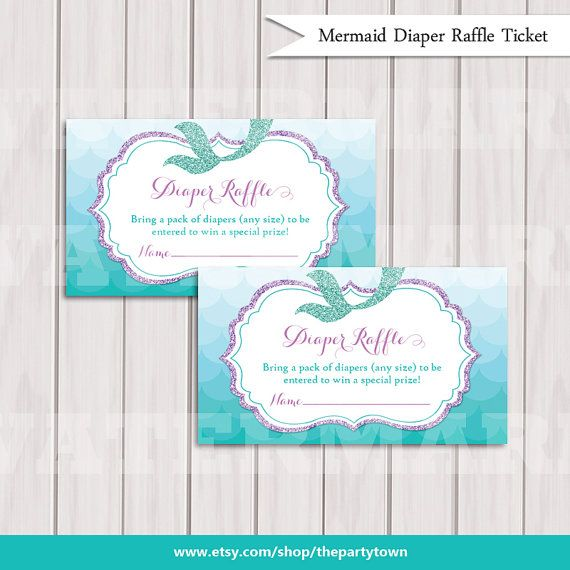Mermaid Diaper Raffle Ticket Cards Baby Shower By Thepartytown