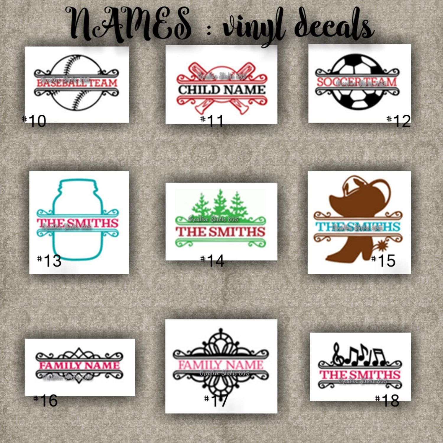 Family names vinyl decals last name initial decal sticker car decals car stickers laptop sticker 10 18