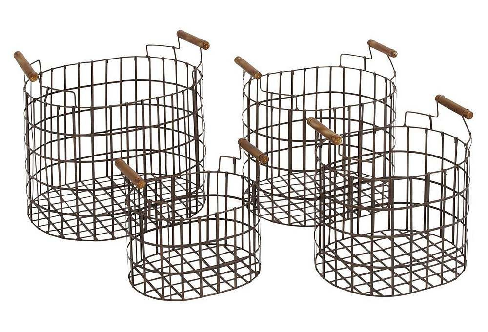 One Kings Lane - Get Crafty - S/4 Assorted Round Metal Baskets