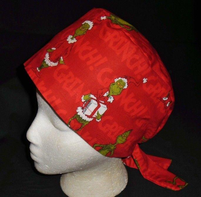 559f9fb4cfa Pediatric Nurses Dr Seuss HOW THE GRINCH STOLE CHRISTMAS Surgical Scrubs  Scrub Caps Ladies Red Hat