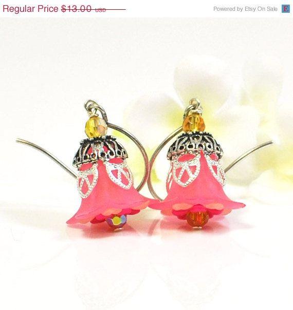 Pink Flower Earrings Morning Dew Drops  Lucite by LavenderRabbit