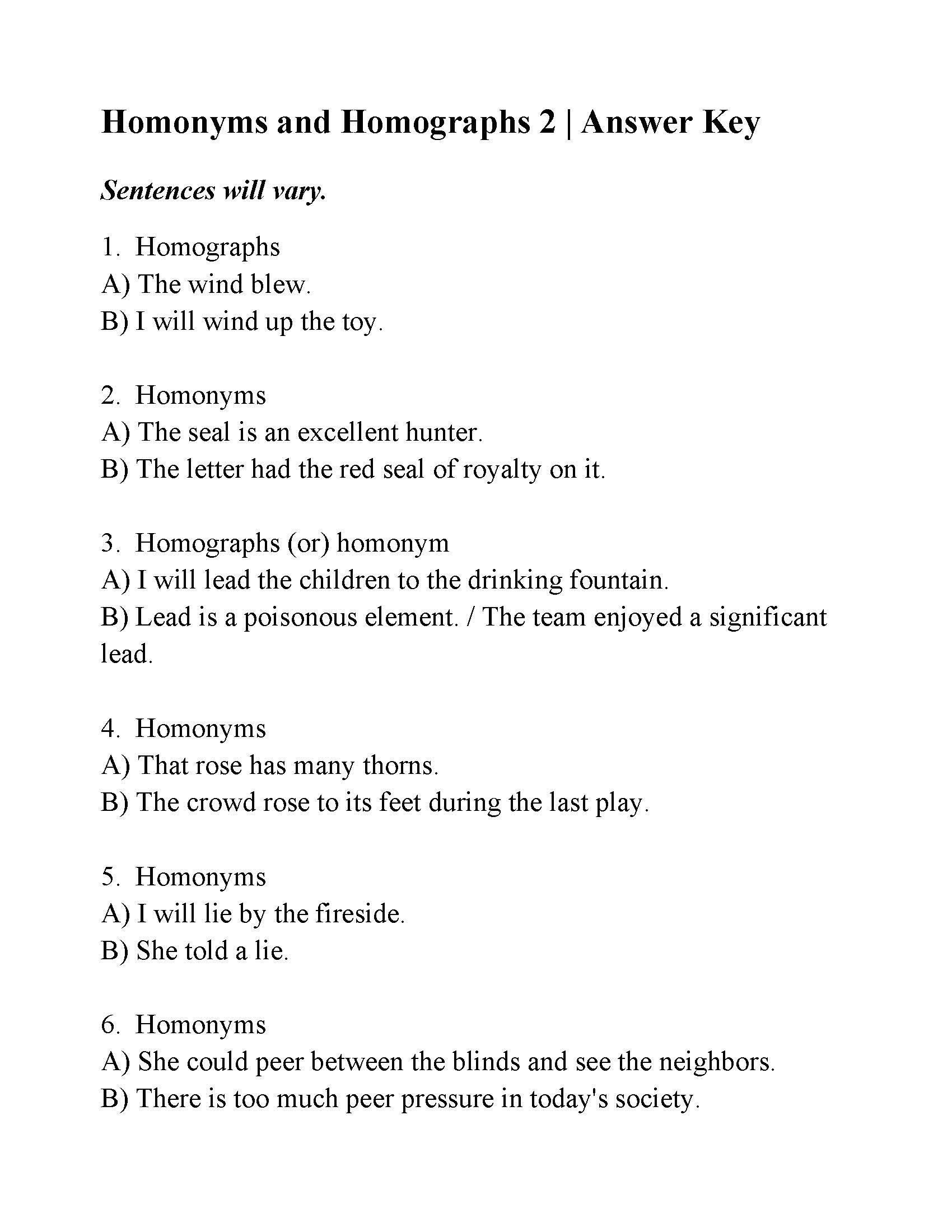 Homographs Worksheets With Answers Homonyms And Homographs