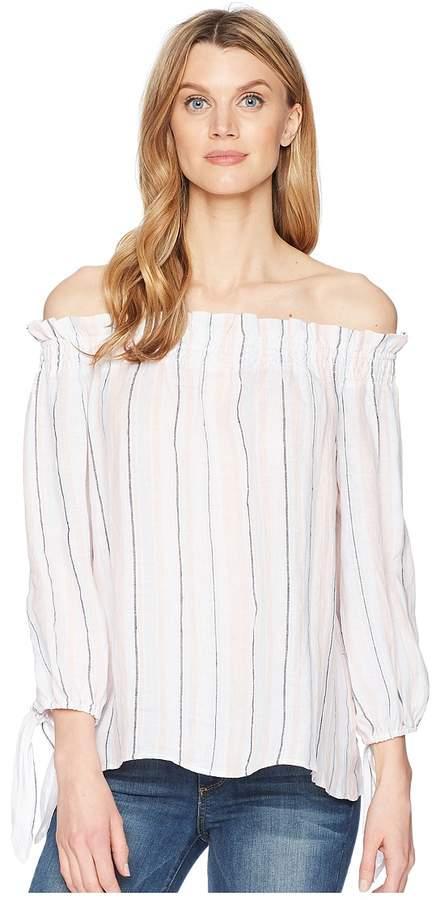 ace42d7513aa Vince Camuto Long Sleeve Off Shoulder Seashore Stripe Linen Blouse Women's  Blouse