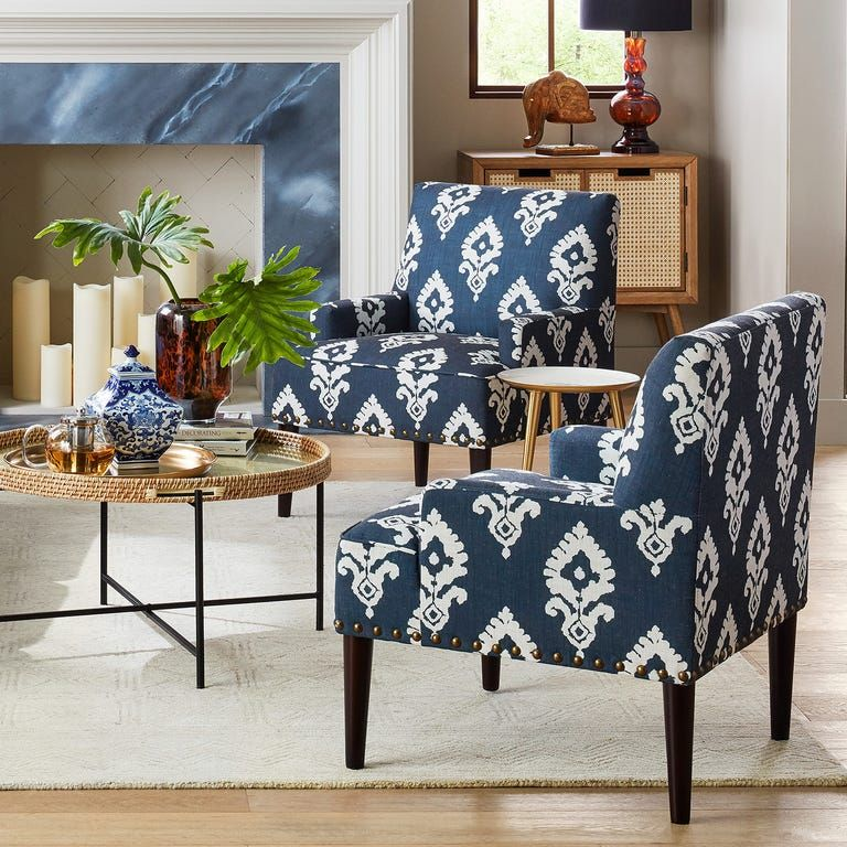 Lily Navy Boldini Ikat Accent Chair Pier 1 In 2020 Blue Accents Living Room Blue Accent Chairs Accent Chairs