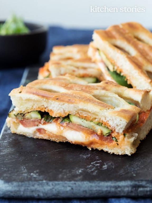 Grilled zucchini Caprese sandwich | Recipe | Kitchen Stories