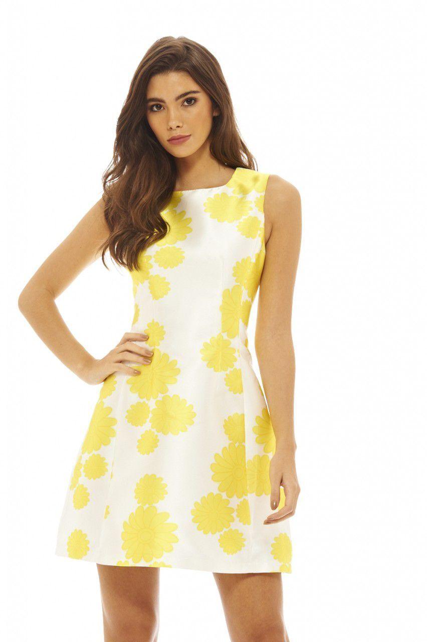 064665e5a0 Fingerhut - AX Paris Women s Floral-Print Sleeveless Skater Dress – Yellow