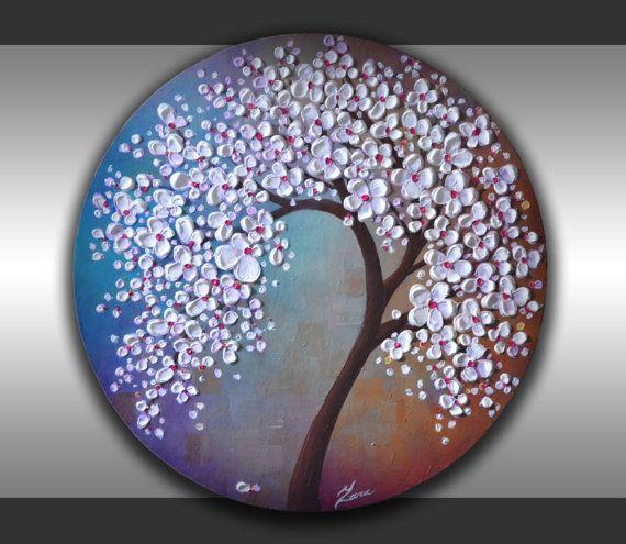 Original Contemporary Fine Art White Lavender Blossom by ZarasShop, $165.00