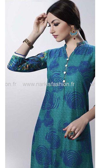 Indian Designer Cotton Tops chemisier vert Kurta Kurtis-tuniques Pour Femmes Fête