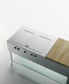 Brushed Stainless Steel Natural Woods And Industrial Grade Glass Outdoor Kitchen Grill Design Brushed Stainless Steel