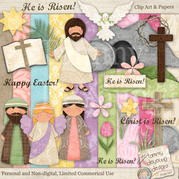 Easter religious clip art digital papers handmade for greeting easter religious clip art digital papers handmade for greeting cards scrapbooking gift tags negle Images