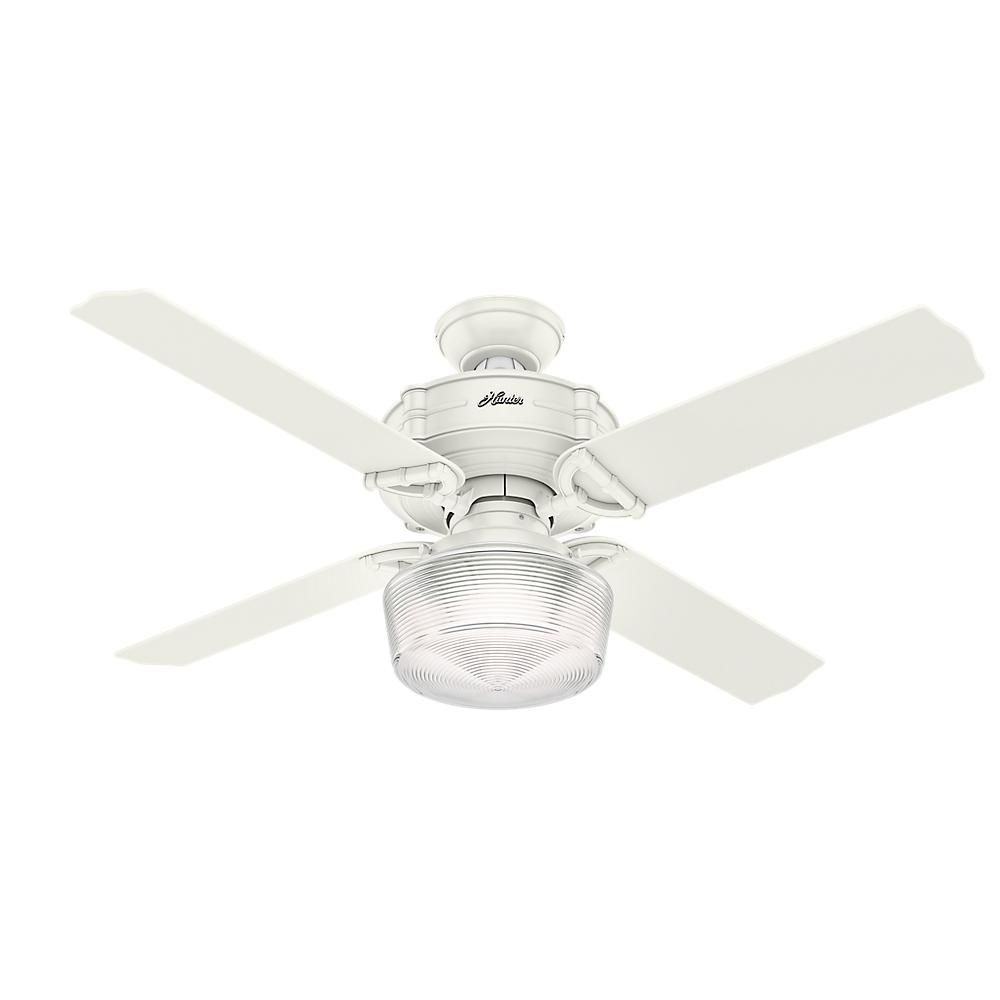 Hunter Brunswick 52 in  LED Indoor Fresh White Ceiling Fan with     LED Indoor Fresh White Ceiling Fan with Globe Light Kit and Handheld Remote  Control