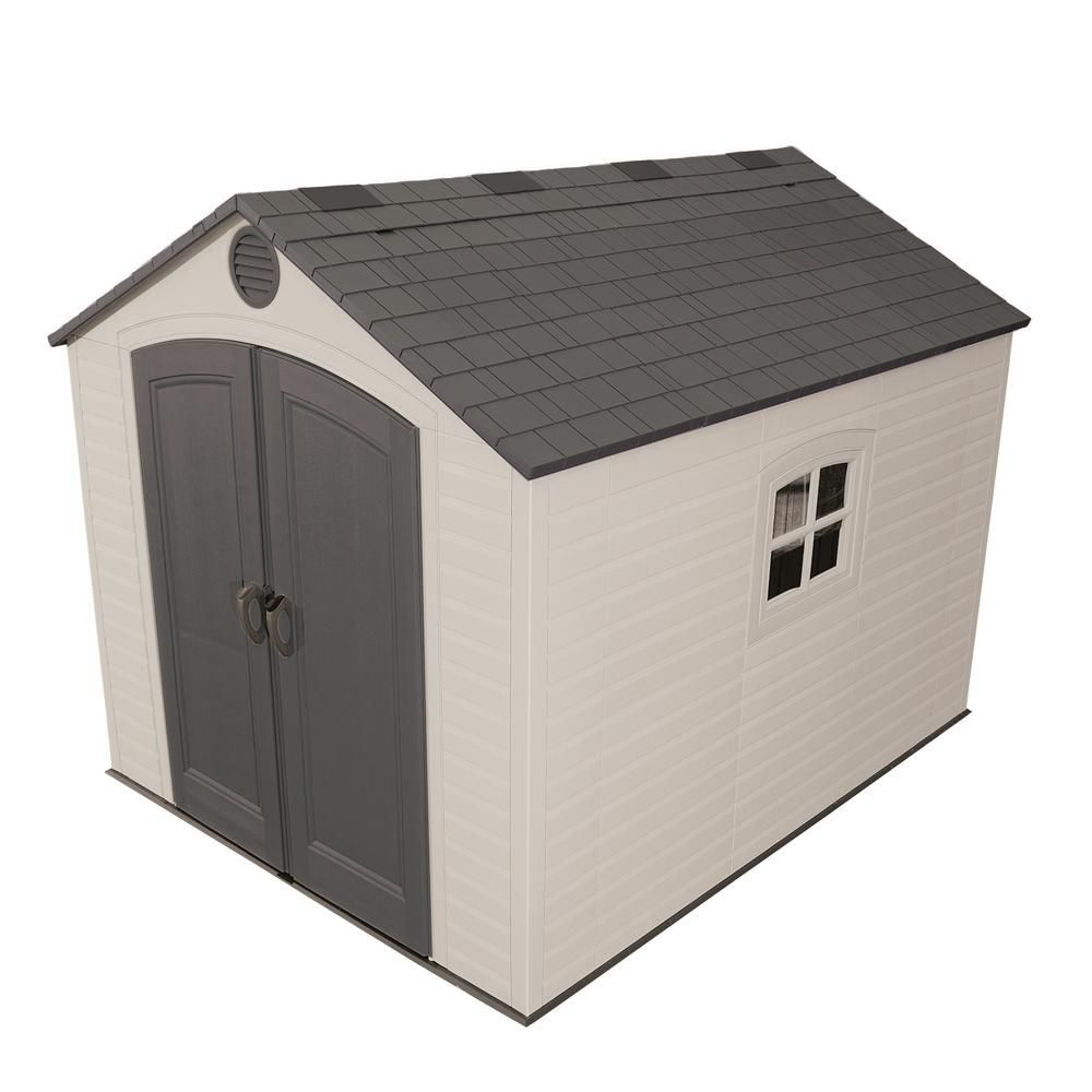 Lifetime Installed 8 Ft X 10 Ft Outdoor Storage Plastic Shed 6405asm The Home Depot Plastic Storage Sheds Shed Storage Plastic Sheds