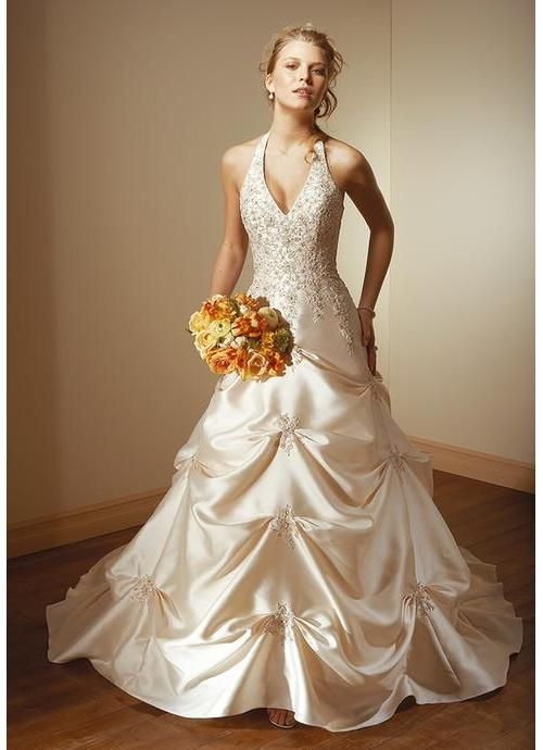 Best Fascinating A Line Princess Halter Chapel Train Satin Wedding Dress with Lace Beadwork