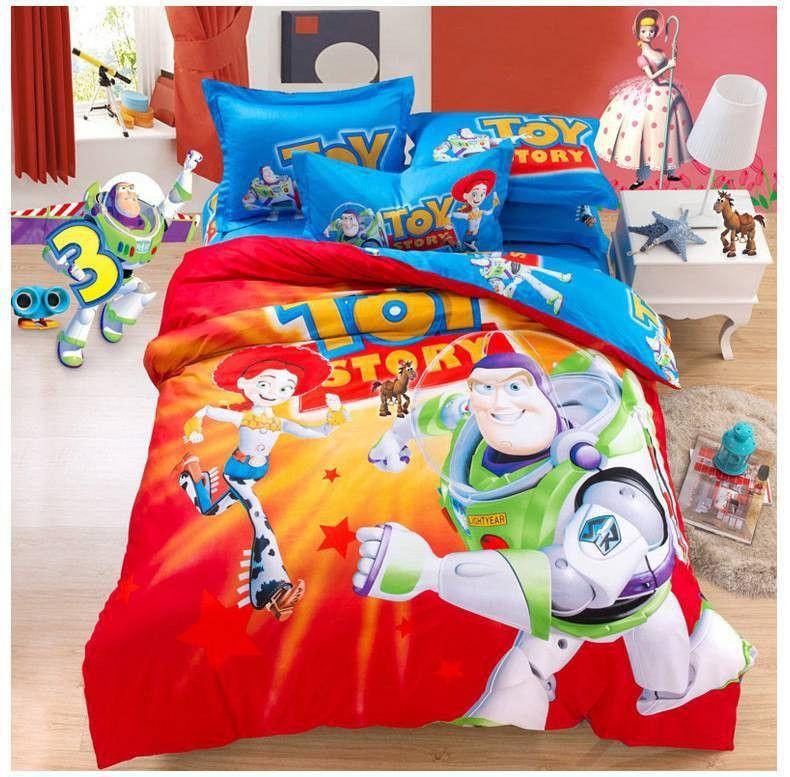 100 Cotton Cartoon Bedding Sets Madagascar Toy Story Bed Sheet Set Christmas Items Gift Kids Bedding Set Toy Story Bedroom Toy Story Bedding Kids Bedding Sets