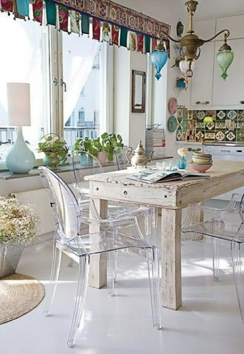 vintage esszimmer möbel - bunte deko elemente Shabby Pinterest - vintage esstisch ideen esszimmer mobel
