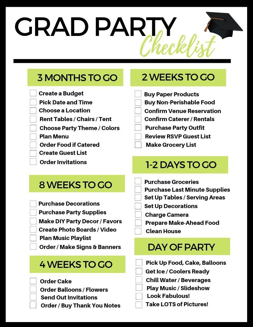Photo of Kostenlose druckbare Grad Party Checkliste