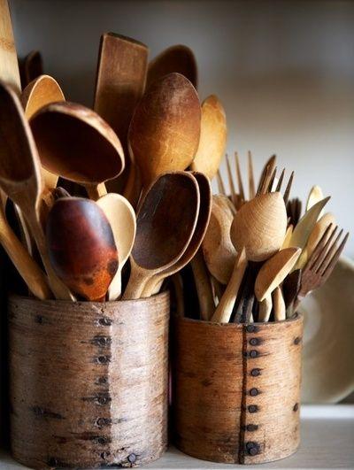 me encantan los utensilios de madera