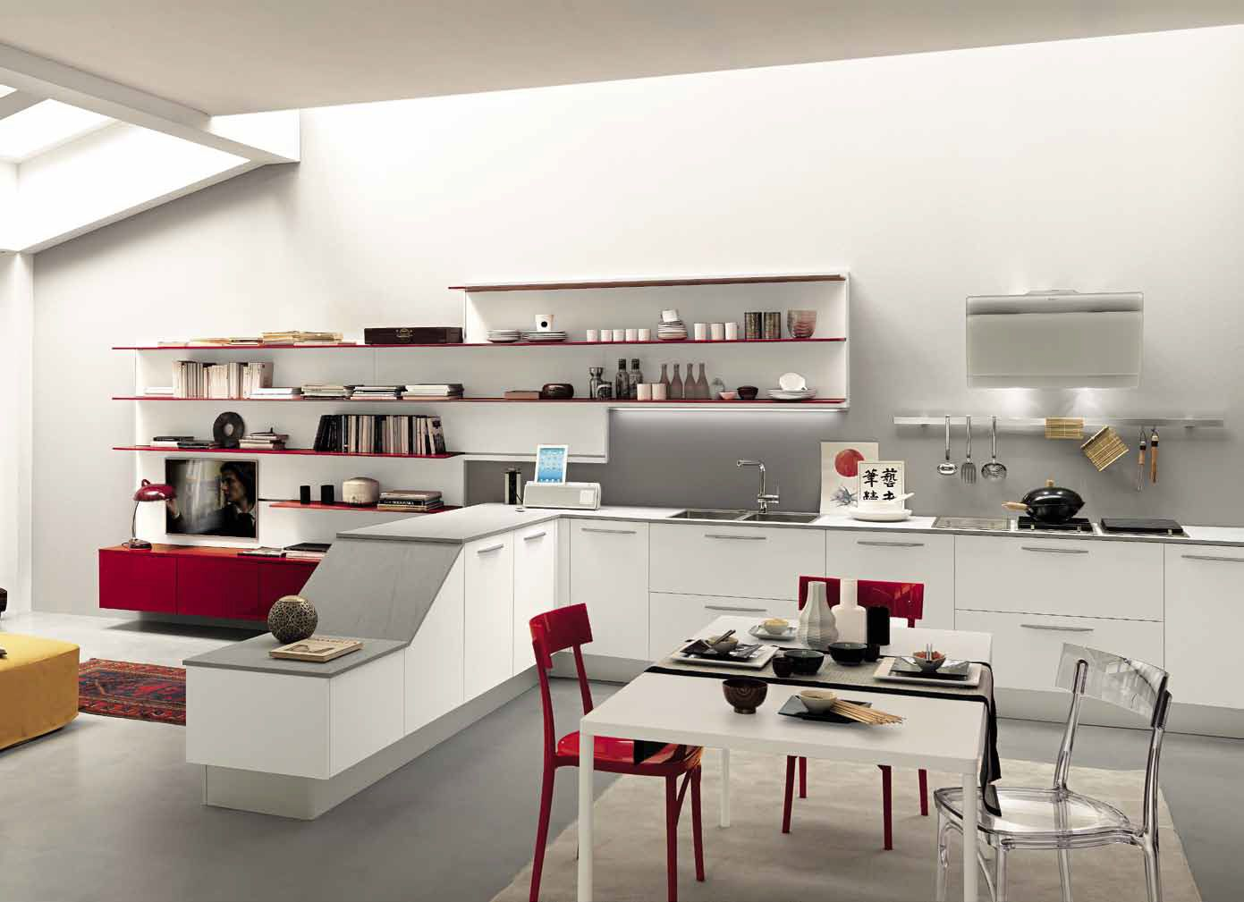 Red Cabinets, Red Shelves, Red Kitchen, White Cabinet ...