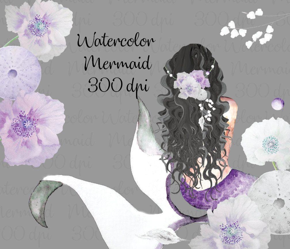 Hand Painted Watercolor Purple Curly Hair Mermaid Watercolor