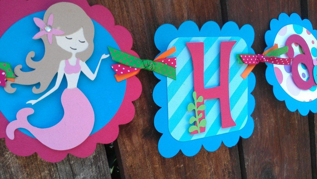 Girls Mermaid Under The Sea Birthday Banner In Bright Colors