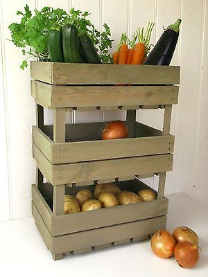 Shabby Chic Set Of 3 Wood Vegetable Storage Racks Crates Stacking Produce Trays In Home Furniture Di Vegetable Storage Rack Vegetable Storage Vegetable Rack