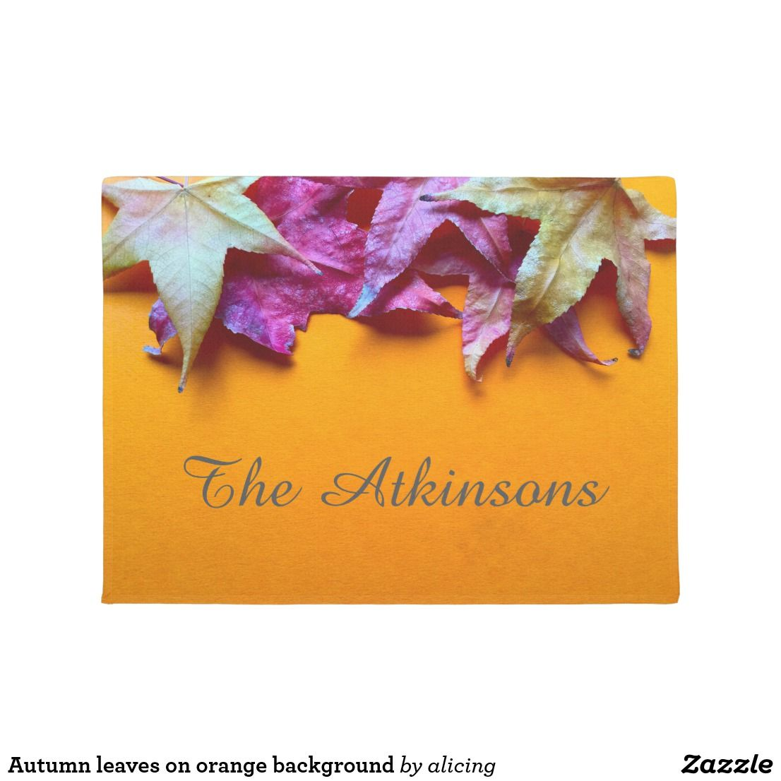Autumn leaves on orange background welcome your fall guests with autumn leaves on orange background welcome your fall guests with a pretty new doormat kristyandbryce Images