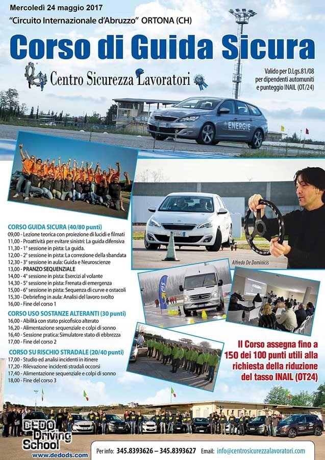 Corso di guida sicura 24 Maggio 2017 #centrosicurezzalavoratori #corsodiguidasicura #circuitointernazionaled'Abruzzo https://goo.gl/DBrg0q