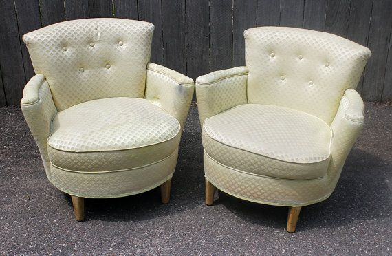 Pair of Vintage Round Club Chairs  Custom by KLUpholstery on Etsy, $650.00