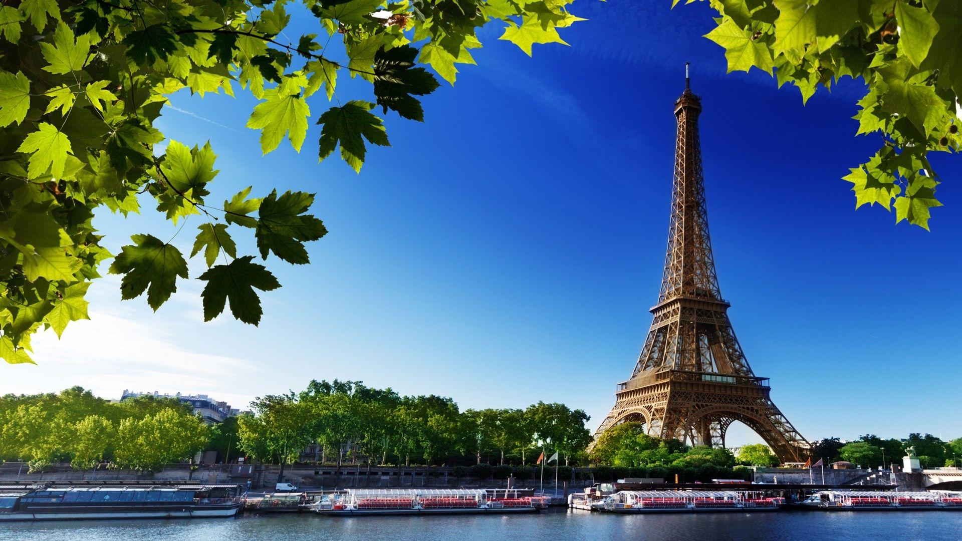 Download Wallpaper 1920x1080 Paris Eiffel Tower France River Beach Trees Full Hd 1080p Hd Backgrou Eiffel Tower Paris Wallpaper Best Vacation Destinations Full hd eiffel tower wallpaper hd 1080p