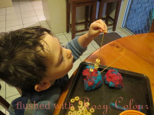 play-dough, cheerios and spaghetti at Flushed with Rosy Colour