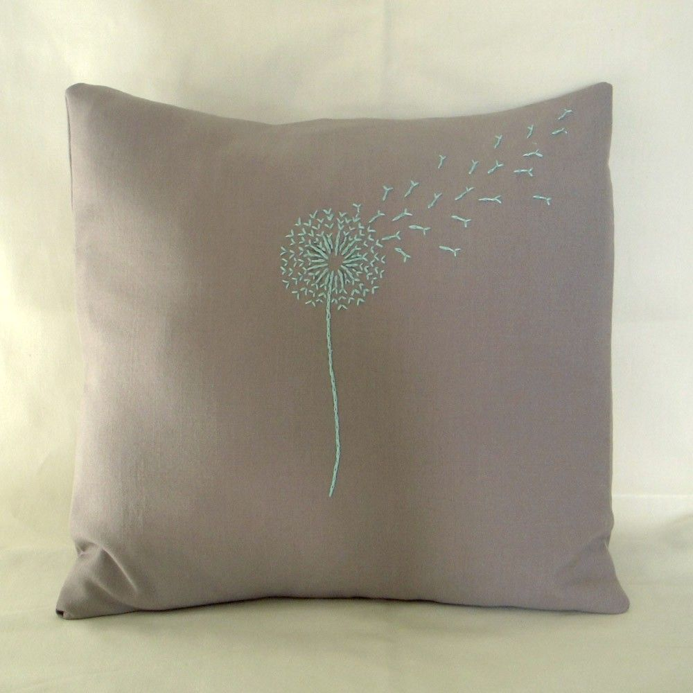 Turquoise Dandelion Pillow. via Etsy.