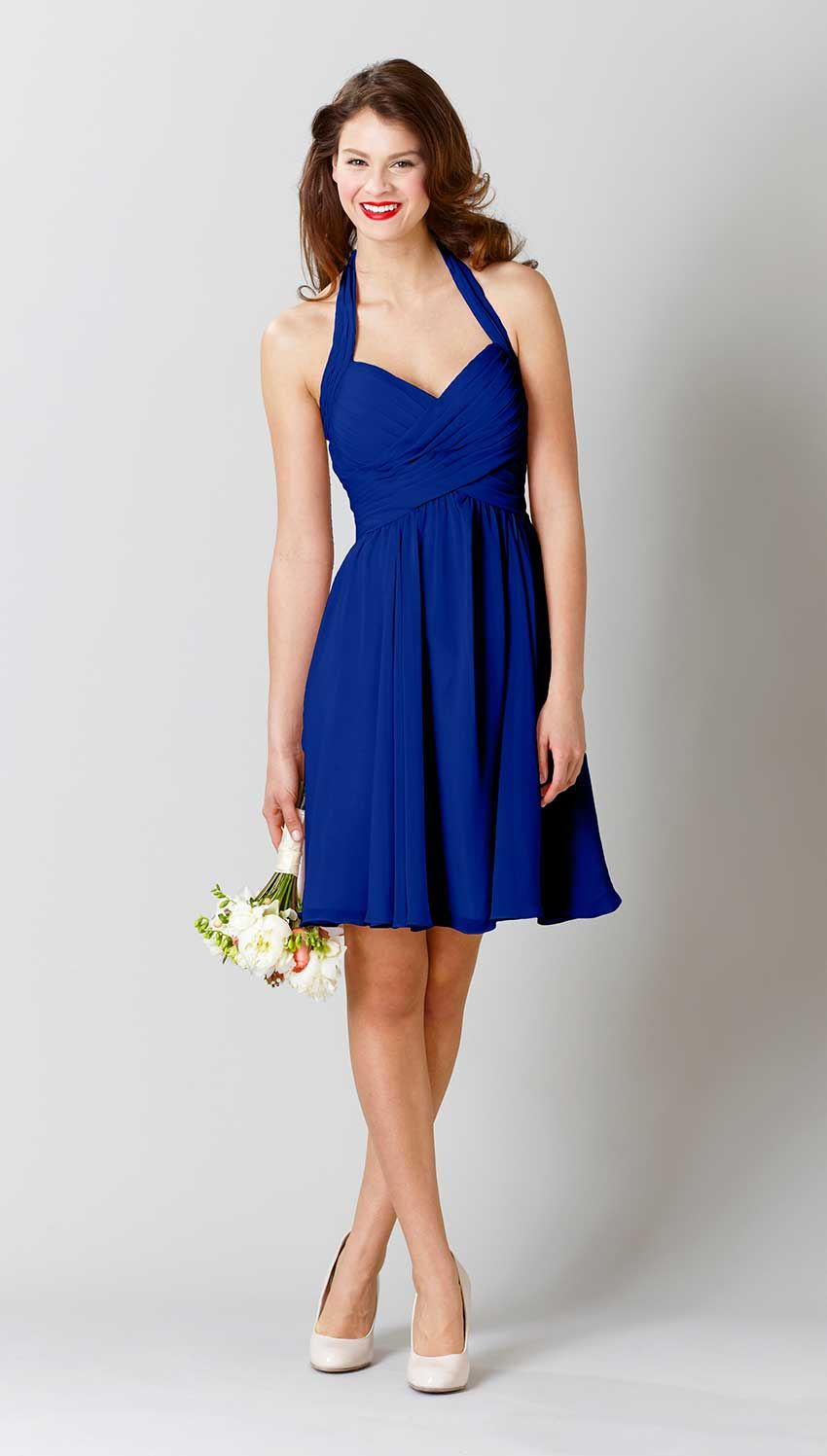 Ginger Halter Bridesmaid Dress Blue Bridesmaid Dresses Beauty Dress