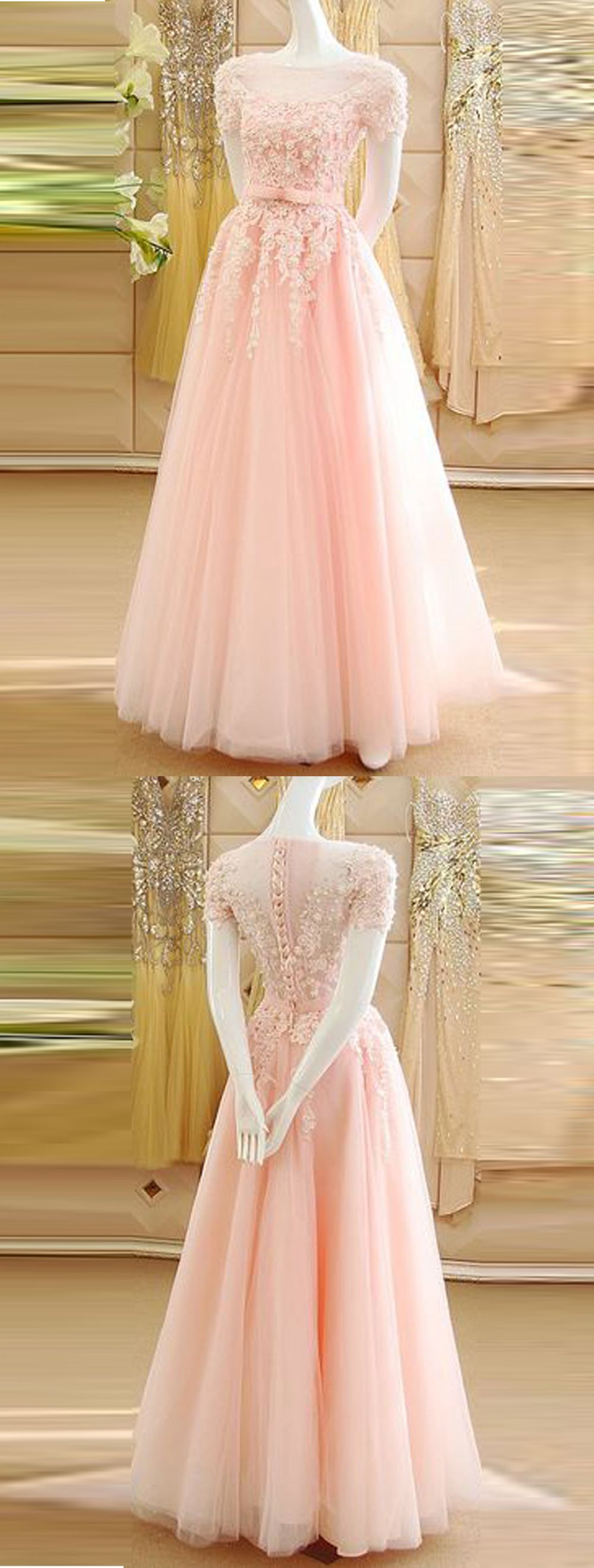 Aline bateau short sleeves pink prom dress with appliques sash